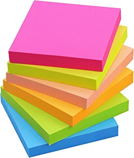 Sticky Notes 3x3, 6 Color Bright Colorful Sticky Pad, 6 Pads/Pack, 100 Sheets/Pad, Self-Sticky Note Pads (Yellow, Green, Blue, Orange, Pink, Rose)