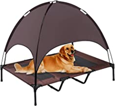 SUPERJARE Outdoor Dog Bed, Elevated Pet Cot with Canopy, Portable for Camping or Beach, Durable 1680D Oxford Fabric, Extra Carrying Bag - Brown