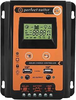 Regulador de batería del panel solar Qiilu MPPT Controlador de carga solar 12V / 24V con Pantalla LCD dual USB 30A