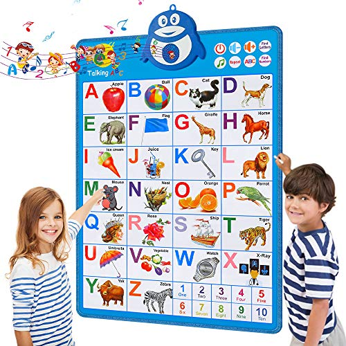 Interactive Alphabet Posters, Educational Toys for 2 Year Old,Talking ABC&123s&Music Wall Charts,Kindergarten,Toddler Learning for 3, 4, 5, 6 Year Olds,New School Year,Back to School Supplies