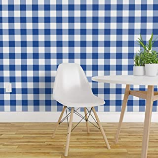 Spoonflower Pre-Pasted Removable Wallpaper, Buffalo Plaid Blue White Retro Home Check Navy Boy Print, Water-Activated Wallpaper, 12in x 24in Test Swatch