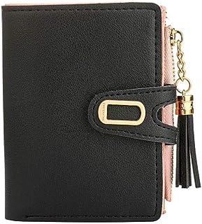 GUMAOPAJIAAAqb Monederos de Mujer, Wallet Women Leather Fashion Card Holder Luxury Short Zip Wallet (Color : BK)