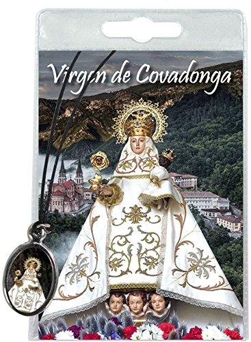 Medalla Virgen de Covadonga con cordón y oración en español