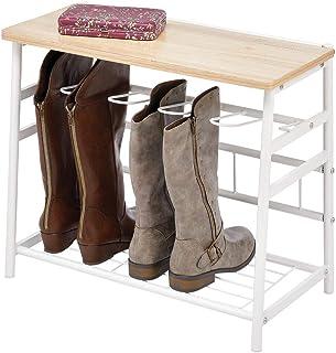 mDesign meuble d'entrée pour 3 paires de bottes – meuble à chaussures en métal et bois pour bottes, parapluies et cannes –...