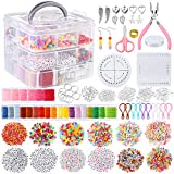 PP OPOUNT 3740 PCS Friendship Bracelet Kit with String and Letter Beads, 24 Multi-Color Embroidery Floss, Elastic Nylon Cord, Braiding Disc, Findings for Friendship Bracelets, Jewelry Making