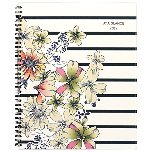 """AT-A-GLANCE Weekly / Monthly Planner / Appointment Book 2017, 8-1/2 x 11"""", Monique, Stripe Floral (178-905)"""