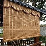Estor Enrollable Persiana Patio Exterior Cortinas Enrollables Romanas de Bambú, Retro Al Estilo Japonés Persianas Enrollables para Ventanas con Valance, para el Dormitorio, 100cm/120cm/140cm de Ancho