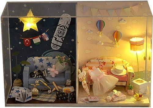 Jouet intéressant pour enfants Modèle Jouets Creative Bricolage Hut à L'anniversaire De Manuel Assemblée Maison Un Cadeau D'anniversaire En Bois DIY Dollhouse Mini Kit à La Main Pour Filles Cabine Con