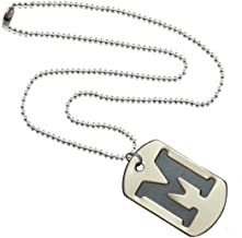 Sullery Alphabet Letters Silver Stainless Steel Plated Square Pendent Necklace with Chain for Unisex