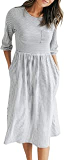 Women's 3/4 Balloon Sleeve Striped High Waist T Shirt...