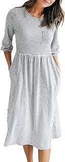 MEROKEETY Women`s 3/4 Balloon Sleeve Striped High Waist T Shirt Midi Dress with Pockets