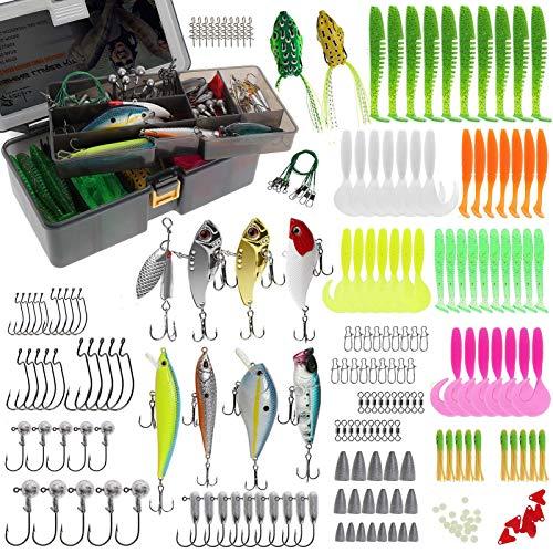 Croch Juego de pesca con diferentes cebos, anzuelos y accesorios de pesca, 210 piezas (A-210).