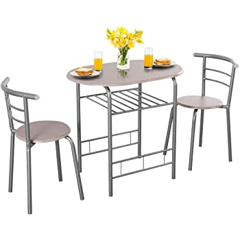 Costway Ensemble de Table et Chaise pour Salle à Manger 3 Pièces Comprenant 1 Table et 2 Tabourets MDF (Gris)