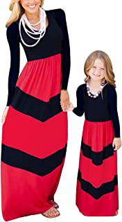 Mommy And Me Dress Striped Print Tank Maxi Dress Family Clothes