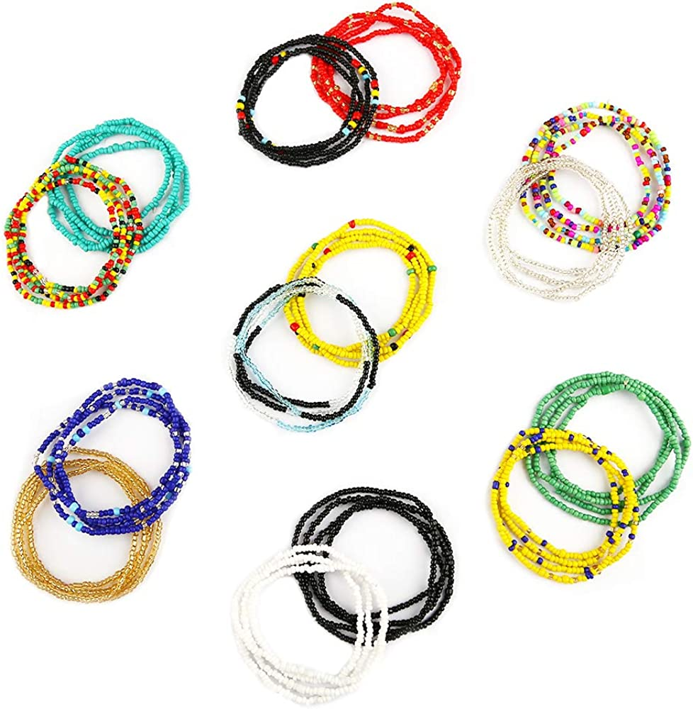 yansport Elastic Waist Bead Body Chain, 14PC Colorful African Belly Beads, Bikini Waist Beads Chains Set, Summer Fashion Jewelry for Women and Girls