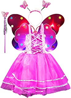 Amosfun 4pcs Girls Fairy Princess Costume Set Light up Butterfly Wing Wand Headband Tutu Skirt Party Costume Set Rosy
