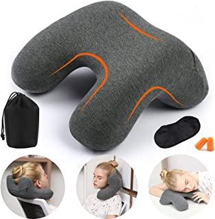 HAOBAIMEI Travel Neck Pillow, Memory Foam Travel Pillow for Airplanes, Car, Camping, Office, School, Head Neck Pillow, Back Pillow, Travel Accessories For Women And Men(Grey)