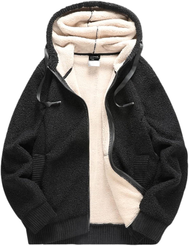 Shiyifa Men's Casual Winter Warm Fleece Thicken Sweatshirt Sherpa Lined Zip Up Jacket Coats