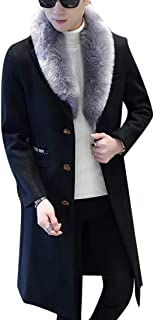 Warm Single Breasted Faux Fur Collar Long Outdoor Wool Pea Coat Overcoat