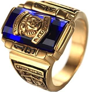 Joyería de Acero Inoxidable Plateado Azul circón Classic 1973 Walton Tigre Anillos de graduación de Secundaria de Oro para Hombre del Anillo