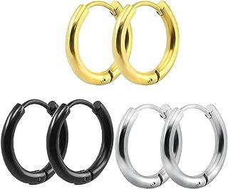 316L Surgical Stainless Steel Hoop Earrings Mens Womens Small Huggie Hoop Earrings(3 Pairs)