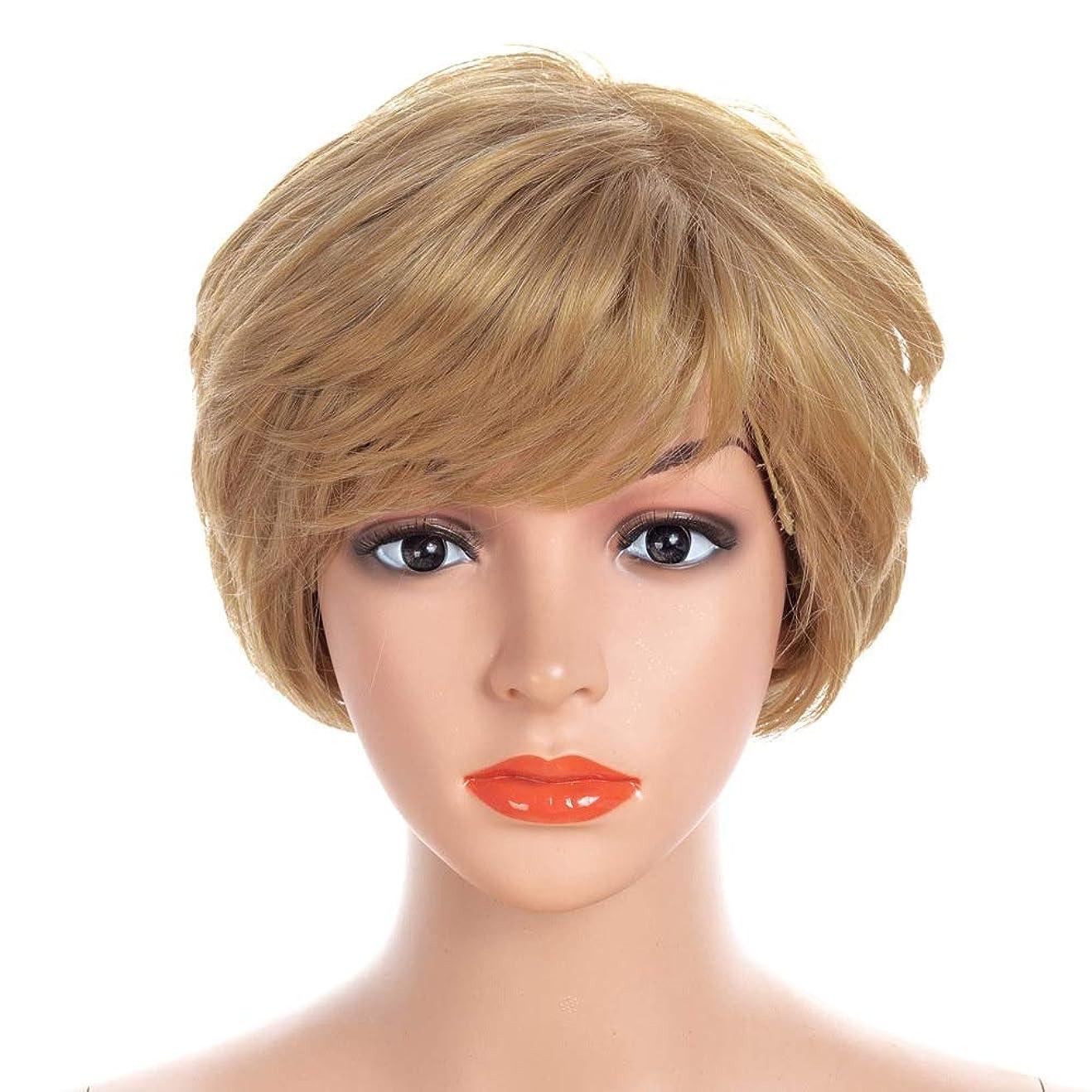 マチュピチュレインコート意図的Isikawan 無料のヘアネットコスプレパーティードレス付き人工毛ボブショートカーリーブロンド (色 : Blonde, サイズ : 30cm)