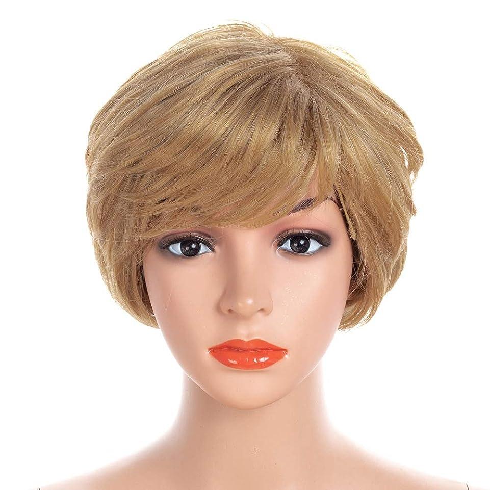 ひねくれたうめき声に勝るYAHONGOE 合成髪ボブショートカーリーブロンドの髪と自由な髪ネットコスプレパーティードレス合成髪レースかつらロールプレイングかつらロングとショートの女性自然 (色 : Blonde, サイズ : 30cm)