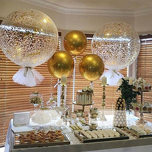MAXGOODS 18 inch 4D Round Gold&Silver Aluminum Foil Balloon for Birthday Party Wedding Baby Shower Marriage Decor Supplies,Pack of 4