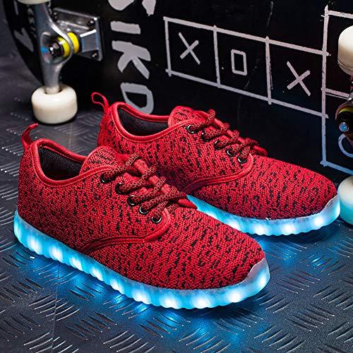 F-JX Unisex LED Enciende Los Zapatos, Botas Luminosas Parpadeantes, Zapatos Intermitentes Recargables USB, Melbourne Shuffle Dance Shoes Mejor Regalo,Rojo,46