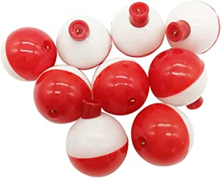 10pcs-50pcs/lot Hard ABS Fishing Bobbers Set Snap on Red/White Float Bobbers Push Button Round Buoy Floats Fishing Tackle Accessories Size:0.5/0.75/1/1.25/1.5/1.75/2 Inch