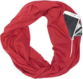 Jade Marie Solid Infinity Scarf, Lightweight Scarfs for Women with Zipper Pocket