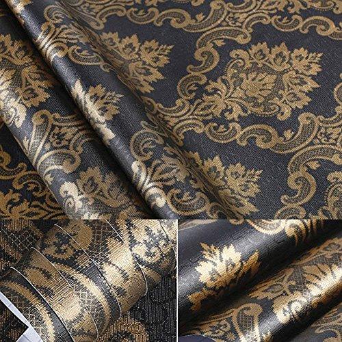 Schwarz Gold Damast Sheet Regalen Abziehen & Aufkleben Dresser Schublade Aufkleber Tapete Kontakt Papier für Tisch Küche Schränke Wand Arbeitsfläche Tür Schreibtisch 60cm von 200cm