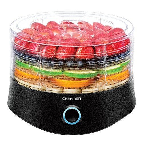 Chefman 5 Tray Round Food Dehydrator, BPA-Free Professional Electric Multi-Tier Food Preserver, Meat or Beef Jerky Maker, Fruit, Herb, &...