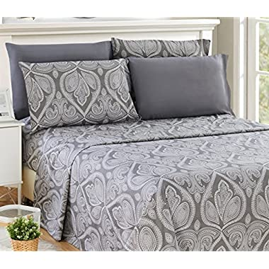 Lux Decor Collection Bed Sheet Set - Brushed Microfiber 1800 Bedding - Wrinkle, Stain and Fade Resistant - Hypoallergenic - 4 Piece (Queen, Paisley Grey)