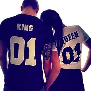 Camiseta Casual de Pareja T-Shirt de Manga Corta Top Estampado para Hombre y Mujer Amante King and Queen