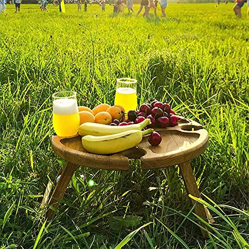 HYBHSCL Mesa de Picnic Plegable al Aire Libre de Madera Ronda con Titular de Copa de Vino Queso y Fruta Compartimiento de la Placa Mesa de jardín Cena romántica, Playa, Camping