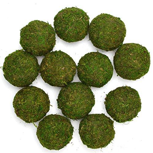 "ByYou 12 Pack Eco-Friendly Handmade Green Moss Balls Decor,Full Size (2"")"