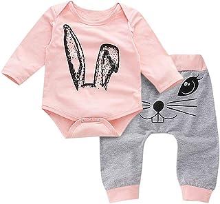 Xmiral Kleinkind Kind Mädchen Cartoon Kaninchen Gedruckt Oansatz Strampler  Hosen Outfits
