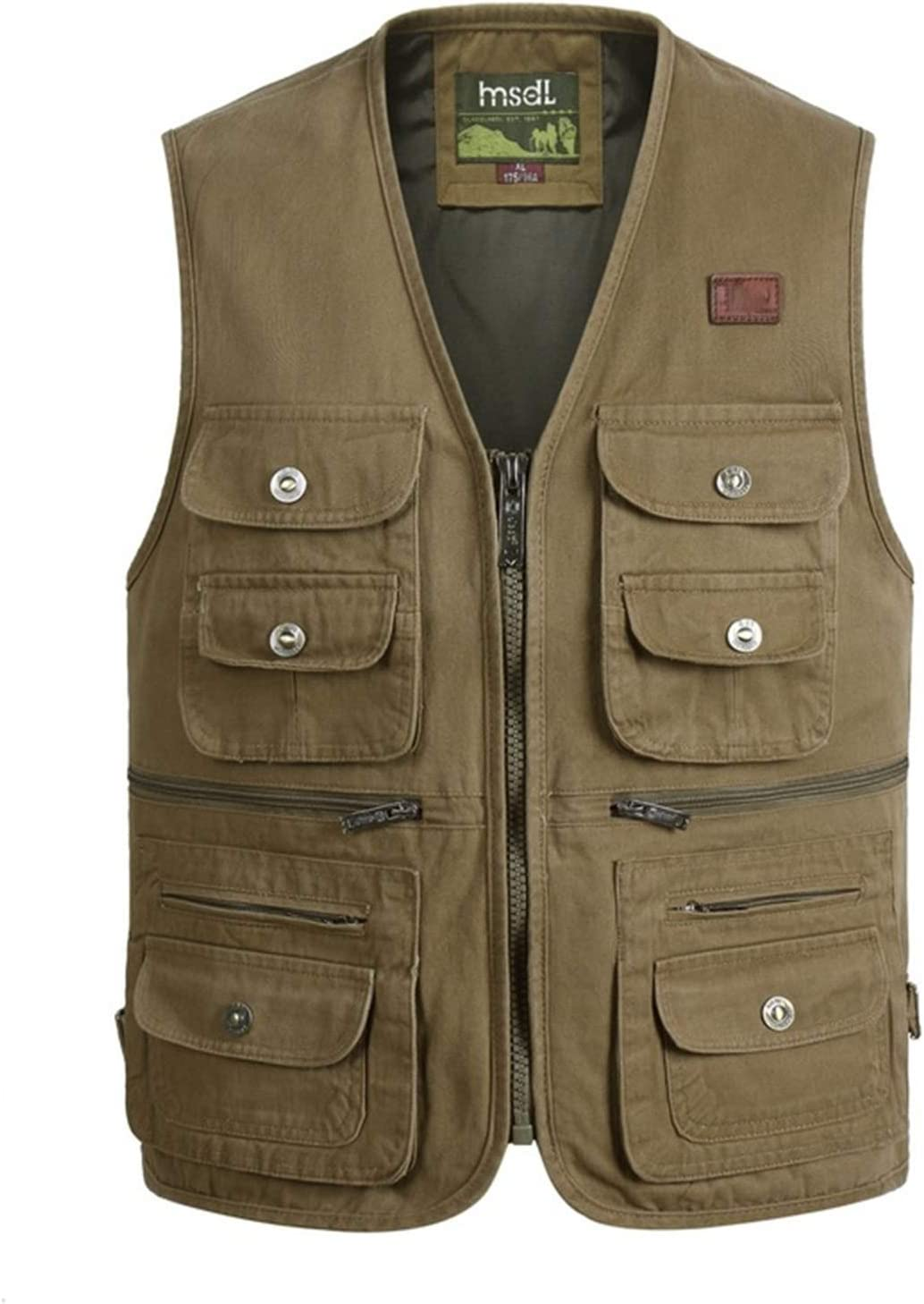 Outdoor Leisure Fishing Vest,Sport Photography Vests, Middle-Aged and Elderly Men's Cotton Clothing,1,3XL