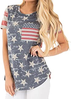 8dd12c4104b Gocgt Women s American Flag Print Independence Day Tee