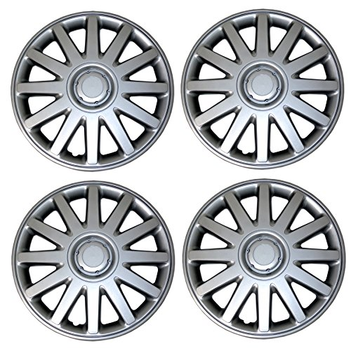 TuningPros WSC-611B15 Hubcaps Wheel Skin Cover 15-Inches Matte Black Set of 4