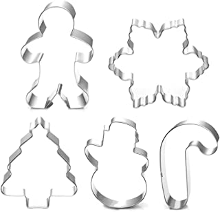 Christmas Cookie Cutter Set - 5 Piece Holiday Cookies Molds - Snowman, Christmas Tree, Gingerbread Man, Candy Cane, Snowflake