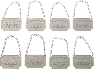 NATGAI Liquor Decanter Tags, Deluxe Set of Liquor Tags for Bottles or Decanters, Set of Eight With Adjustable Chain Features - Whiskey, Bourbon, Scotch, Gin, Rum, Vodka, Tequila and Brandy (Silver)