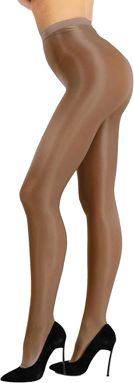 iiniim Women Control Top Ultra Shimmery Stretch 70D Thickness Footed Silk Stockings Pantyhose Tights