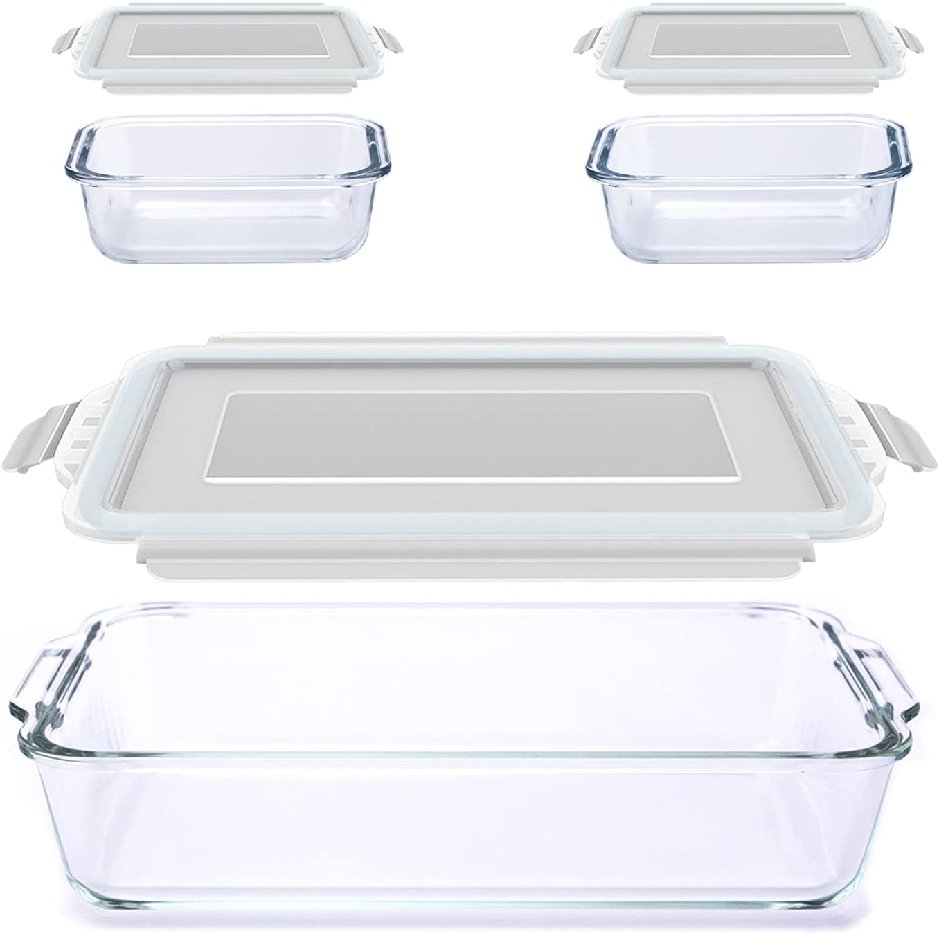 Luvan 3 Pack Glass Baking Dishes Set Includes 1pc Rectangular Glass Bakeware and 2pcs Food Storage Containers with Lids, Easy Grab, Leak-proof and Stackable for Easy Storage (74oz,12oz)