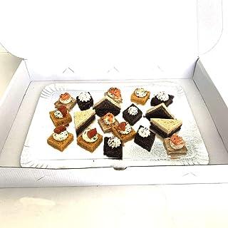 Extiff Lote de 25 Cajas de cartón compactas Blancas para Bandeja de pastelería, pequeños hornos o Pasteles, 28 x 42 x 6 cm