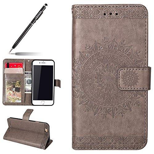 Uposao Hülle Kompatibel mit iPhone 6s Plus 5.5 Handyhülle, Handytasche Mandala Muster Bookstyle LederHülle Brieftasche Ledertasche Klappbar Leder Flip Case Handycover,Grau