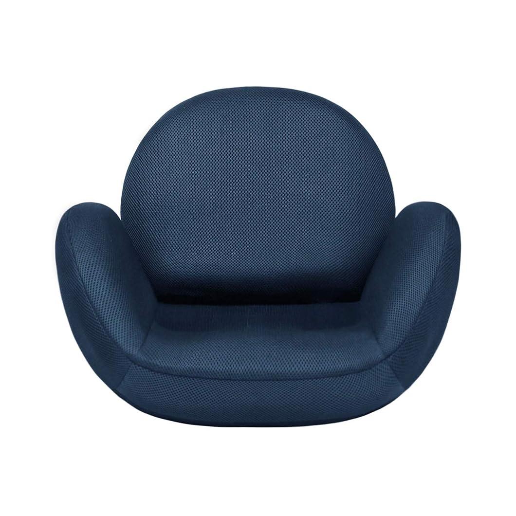 緩やかな小川背景tegopo 座椅子 腰痛 コンパクト リクライニング 6段階調節 メッシュ 幅55cm 奥44cm 高41cm TZ001-M1 ネイビー色