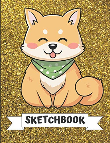 Sketchbook: Cute Little Shiba Inu Puppy Dog Cover Design with Glitter Printed Notebook and Journal. Perfect Doodling, Sketching and Writing Book for Kids and Adult of All Ages.