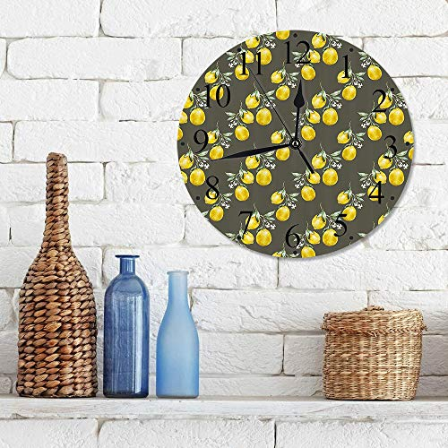 Silencioso Wall Clock Decoración de hogar de Reloj de Redondo,Floral, ramas de limón con esencia de crecimiento de pétalos, impresión artística temática ,para Hogar, Sala de Estar, el Aula